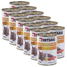 ONTARIO hrana za mačke - piščanec, zajec in olje - 12 x 400 g