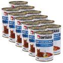 ONTARIO hrana za mačke - govedina, losos in olje - 12 x 400 g