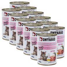 ONTARIO hrana za mladiče - piščanec, kozice, riž in olje - 12 x 400 g