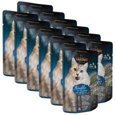 Vrečka hrane Leonardo postrv in mačja trava, 12 x 85 g