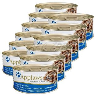 Applaws Cat - konzerva mačje hrane s tuninim filejem in rakovico, 12 x 70g