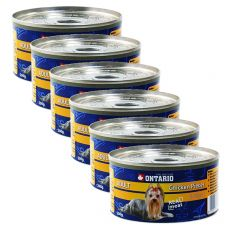 Konzerva pasje hrane ONTARIO Adult, koščki piščanca in želodec, 6 x 200 g