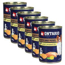 Konzerva pasje hrane ONTARIO z jagnjetino, sladkim krompirjem in lanenim oljem – 6 x 400 g