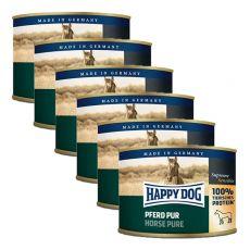 Happy Dog Pur - Pferd / konj, 6 x 200g, 5 + 1 GRATIS