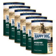 Happy Dog Pur - Pferd / konj, 6 x 400 g, 5 + 1 GRATIS