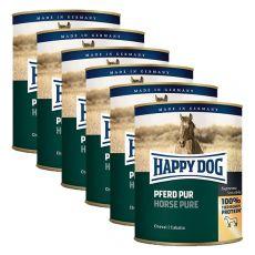 Happy Dog Pur - Pferd / konj, 6 x 800 g, 5 + 1 GRATIS