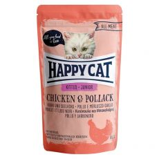 Vrečka Happy Cat ALL MEAT Kitten Junior Chicken & Pollack 85 g
