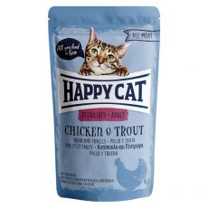 Vrečka Happy Cat ALL MEAT Adult Sterilised Chicken & Trout 85 g