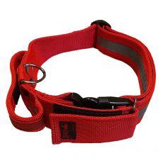Rdeča varnostna ovratnica z ročajem 40 - 65 cm, 40 mm