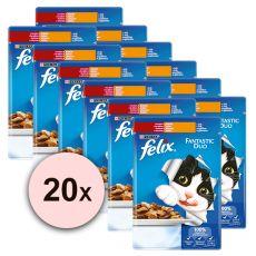 Mačja hrana v vrečki FELIX Fantastic Duo – govedina in perutnina v želatini, 20 x 100 g