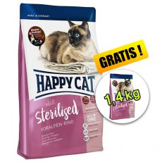 Happy Cat Sterilised Voralpen Rind / Beef 1,4 kg + 1,4 kg GRATIS