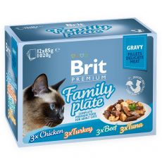 Vrečke BRIT Premium Cat Delicate Fillets in Gravy Family Plate 12 x 85 g