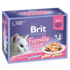 Vrečke BRIT Premium Cat Delicate Fillets in Jelly Family Plate 12 x 85 g