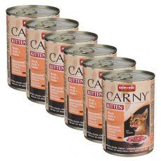 Mokra hrana CARNY KITTEN govedina, teletina in piščanec 6 x 400 g