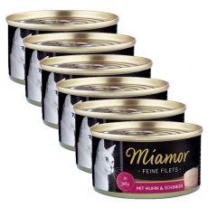 Konzerva mačje hrane Miamor Filet, piščanec in šunka, 6 x 100 g