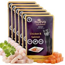 Vrečka NUEVO CAT Adult Chicken & Salmon 6 x 85 g, 5 + 1 GRATIS