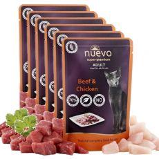 Vrečka NUEVO CAT Adult Beef & Chicken 6 x 85 g, 5 + 1 GRATIS