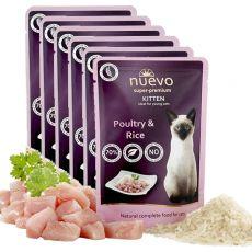 Vrečka NUEVO CAT Kitten Poultry & Rice 6 x 85 g, 5 + 1 GRATIS
