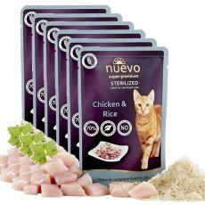 Vrečka NUEVO CAT Sterilised Poultry & Rice 6 x 85 g