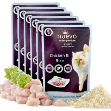 Vrečka NUEVO CAT Light Chicken & Rice 6 x 85 g, 5 + 1 GRATIS