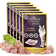 Vrečka NUEVO CAT Sensitive Turkey Monoprotein 6 x 85 g, 5 + 1 GRATIS