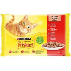 Vrečke Friskies Cat piščanec, govedina, jagnjetina in raca v omaki 4 x 85 g