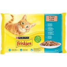 Vrečke Friskies Cat losos, tuna, sardine in trska v omaki 4 x 85 g