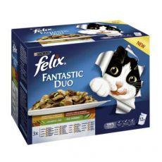 Vrečke Felix Fantastic Duo, okusna mešanica hrane z zelenjavo v želatini 12 x 100 g
