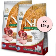 Farmina N&D dog LG MEDIUM & MAXI Chicken & Pomegranate 2 x 12 kg