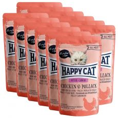 Vrečka Happy Cat ALL MEAT Kitten Junior Chicken & Pollack 12 x 85 g