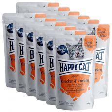 Vrečka Happy Cat MEAT IN SAUCE Adult Chicken & Turkey 12 x 85 g