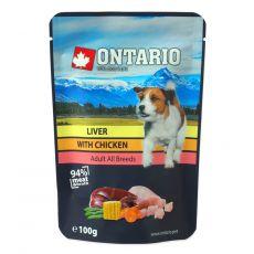Hrana v vrečki ONTARIO DOG Liver with Chicken in broth 100 g