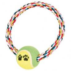 Bombažna vrv v obliki obroča za pse s teniško žogico - 18cm