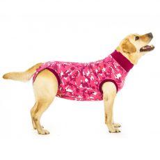 Pooperacijska obleka za psa M kamuflažni vzorec v roza barvi