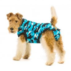 Pooperacijska obleka za psa L kamuflažni vzorec v modri barvi