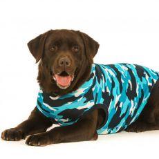 Pooperacijska obleka za psa XL kamuflažni vzorec v modri barvi