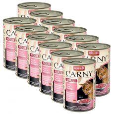 Konzerva mačje hrane CARNY ADULT z govedino, puranom in kozicami 12 x 400 g
