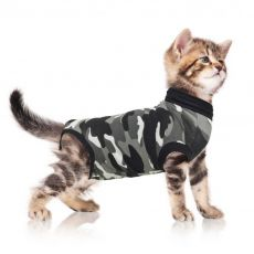Pooperacijska obleka za mačko S kamuflažni vzorec