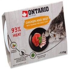 Mokra hrana ONTARIO piščanec in govedina s tavrinom 115 g