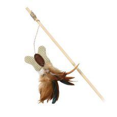 Igrača za mačke - metulj na leseni palici