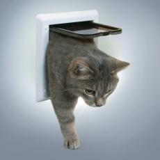 Loputa za mačke z 2 načinoma zaklepanja - bela