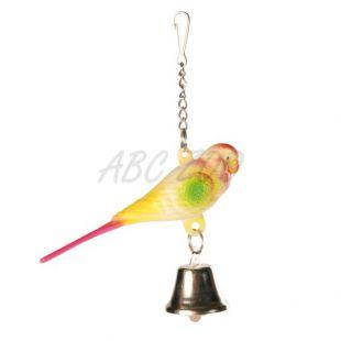 Igrača za ptice - skobčevka z zvončkom - 9 cm