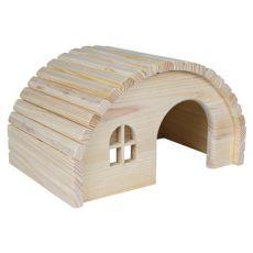 Lesena hiška za glodalce z okroglo streho - majhna