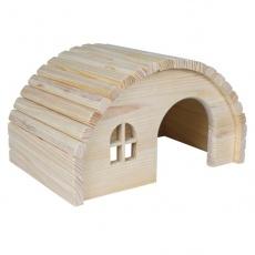 Lesena hiška za glodalce z okroglo streho – srednje velika