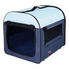 Transportni boks za pse in mačke – moder in bež, 47 x 32 x 32 cm