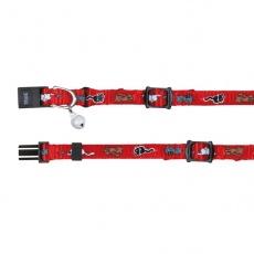 Mačja ovratnica z motivom, rdeča - 15 - 20 cm