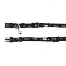 Mačja ovratnica z motivom, črna - 15 - 20 cm