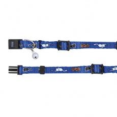 Mačja ovratnica z motivom, modra - 15 - 20 cm