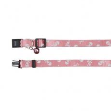 Mačja ovratnica z motivom lobanje, roza - 15 - 20 cm