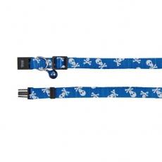 Mačja ovratnica z motivom lobanje, modra - 15 - 20 cm